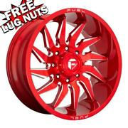 20 Inch 20x10 Fuel D745 Saber Candy Red Wheels Rims 5x5 5x127 -18