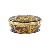 Antique 18th Century Micromosaic Continental Crystal Pill Box