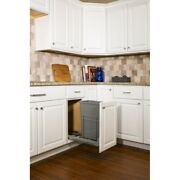 Single Trash Can Kitchen Cabinet Rollout Soft Close Door Mountable Pullout Grey