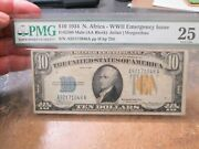 Rare 1934 Us 10 Dollar North Africa Wwii Emergency Fr2308 Mule Note Pmg Very 25