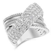 14k White Gold 3ct Pave Round Diamond Crossover X Right Hand Cocktail Ring