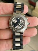 Ladies Stainless Chronograph Watch Reference 2996 Black Rubber Strap