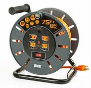 75 Ft Extension Cord Reel With 4 Electrical Power Outlets Orange Cable