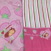 2005 Strawberry Shortcake Twin Sheets Fitted Flat