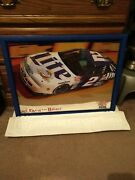Miller Lite Beer Mirror Bar Sign Nascar Rusty Wallace 1997 Man Cave 2 Car Used