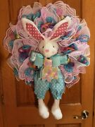 Handmade Easter Bunny Spring Wreath - Blue/pink - Deco Mesh And Ribbon