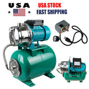 1hp 750w Shallow Well Jet Pump Pressure Tank Stainless Steel 110v Water 740gph