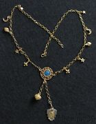 Vermeil Necklace With Vintage Charms And Enameled Religious Medals