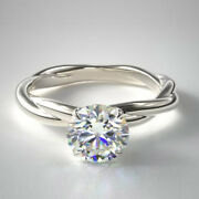 1.00 Ct Round Cut Real Diamond Engagement Ring 14k Solid White Gold Size 5 6 7 8