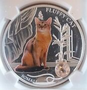 Super Rare 2013 Fiji Colorized Fluffy Cat Coin .999 Silver Oz Top Pop 4 Ngc Ms69