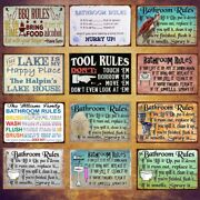 Man Cave Retro Metal Tin Signs Bbq Rules Poster Vintage Hanging Art Wall Decor