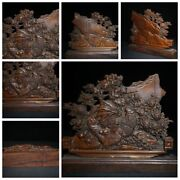 Old Chinese Antique Decor Boxwood Wooden Statue Carvings Modern Home Decor Rare