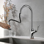 Pull-down Kitchen Sink Faucet Copper Mixer Tap Pull-out Silver Lead-free Kjzy50