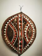 Antique Large African Tribal Shield Buffalo Hide And Hair Hand Painted