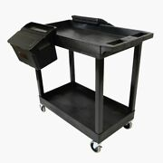 Luxor Two Shelf Cart With Outrigger Bins Luxec11-b-outrig Brand New
