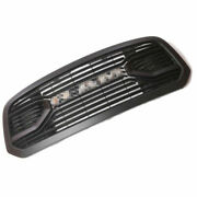 Matte Black Front Grille Replacement For 13-18 Dodge Ram 1500 With Chrome Letter