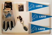 Detroit Lions Gift Set... Key Chain, Pennants, Collectible Pin, And Gloves