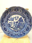 Antique Blue Willow Pattern 6.25 Decorative Plate Buffalo Pottery 1907