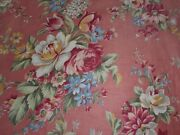 Beautiful Antique Cottage Floral Roses Polished Cotton Fabric 1coral Pink Blue
