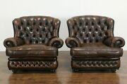 Pair Vintage Scandinavian Tufted Leather Chesterfield Style Wing Chairs 36501