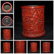 Old China Statue Carvings Chinese Lacquerware Box Japan Small Antique Brush Pot