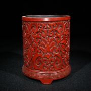 Old China Statue Carvings Chinese Lacquerware Box Japan Larger Antique Brush Pot