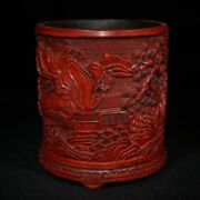 Old China Statue Carvings Chinese Lacquerware Box Japan Antique Brush Pot Carved