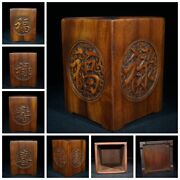Old Antique Chinese Wooden Statue Carvings Rectangle Decor Study Brush Pot Art