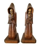 Set Of 2 Hand Carved Wooden Bookends Monks Friars Bible Cross Kneeling Mexico