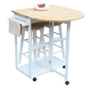 Fch Semicircle Sturdy Solid Wood Folding Dining Cart With 2 Free Stools White Us