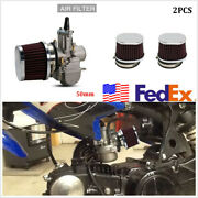 Us Ship 2 Pcs 50mm Motorcycle Scooter High Flow Air Filter Red Mushroom Head Set