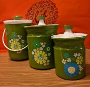 Vintage Retro Kromex Green Cannisters And Ice Bucket