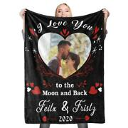 Personalized Photo Names Date Blanket Love Birthday Anniversary Valentine Gifts