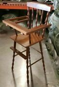 Large Vintage Wooden Doll/teddy Bear Toy High Chair 27 Inches Tall Furniture
