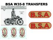 Bsa W35-8 Blue Star Transfers Set Of Decals Classic Motorcycle Dbsa183 V3