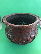 Vintage Burgundy Woven Wicker Baskets And Vases W/glass Inserts - Lot Of 4