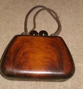 Vtg Tortoise Shell Lucite Hard Shell Box Evening Purse Kiss Lock Brown1940-50and039s