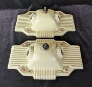 Pair Of Porcelier 2-bulb Porcelain Ceiling Lights Art Deco And Mcm Era Rewired