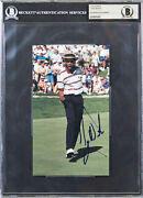 Tiger Woods Authentic Signed 4.65x8 Photo Auto Graded 10 Autographed Bas Slab