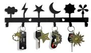 Key Holder For Wall Mount Moon And Star 6-hook Rack, Decorative Metal Wall Hoo