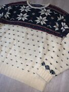 Vtg 90s Polo Christmas Winter Sweater Mens Size Snowflake Hand Knit
