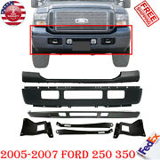 Front Bumper Painted Black Kit + Brackets For 2005-07 Ford F250 F350 Super Duty