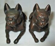 2 Antique Jennings Brothers Usa Bronze Metal French Bulldog Statue Paperweights