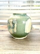 Vintage Pottery Artist Signed Andldquomuffsandrdquo Blue Glazed And Pinched Round Stoneware Vase