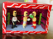 Day Of The Dead Boxing Ring Mexican Folk Art Hand Made Paper Mache Excellent