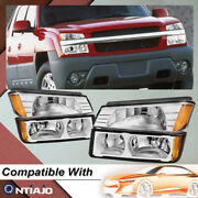 For 02-06 Chevy Avalanche Body Cladding Chrome Headlights+bumper Signal Lamp Set
