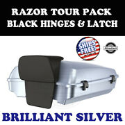 Brilliant Silver Razor Tour Pack Black Hinges Latch Fit 97-20 Harley Touring
