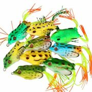 9pcs Frog Soft Fishing Lure Silicone Artificial Bait Bass Snakehead 5.5cm 12.1g