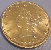 Excellent Condition 1907 Half Ounce American Eagle Gold Coin In Capsule