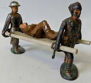 Vintage Manoil Stretcher Carrier Bearer And Wounded Soldier Lead Toy Soldiers Lot